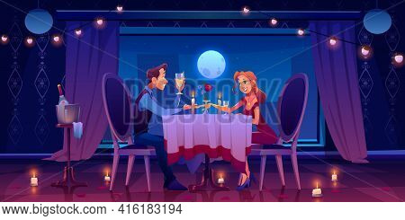 Couple Romantic Date Dinner, Man Holding Woman Hand Sitting At Served Table In Dark Room At Window W