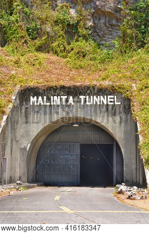 CORREGIDOR, PHILIPPINES - APRIL 3, 2016: Malinta Tunnel entrance. The tunnel was built by the US Army Corps of Engineers for bomb proof storage and 1000 bed hospital.