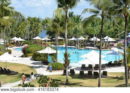 CEBU, PHILIPPINES - APRIL 5, 2016: Shangri-La Mactan Resort and Spa pool area. The luxury resort features a Marine Sanctuary.