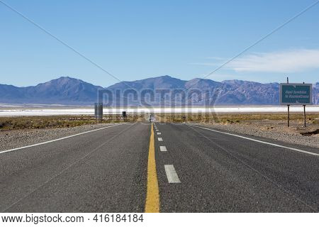 Jujuy Province, Argentina, December 22: Government Sign Board Along The Famous Route 40 Paved Road P