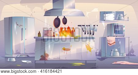 Damaged Kitchen In Restaurant, Empty Interior With Fire, Crashed Cooking Appliances And Furniture, B