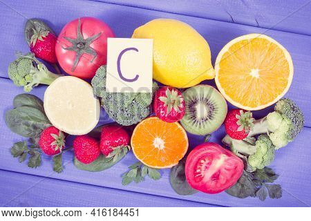Vintage Photo, Fresh Ripe Fruits And Vegetables As Sources Of Minerals Containing Vitamin C, Dietary