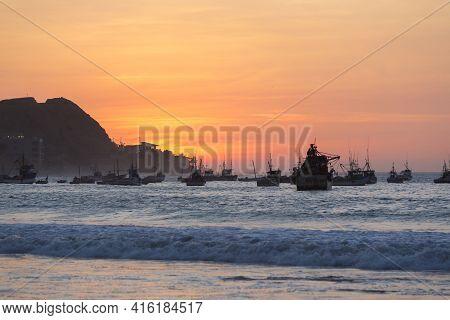 Mancora, Peru, January 31: Harbor Of Manora And The Beach During A Wonderful Orange Sunset. Peru 201