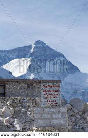 Everest Base Camp, Nepal, April 19: Everest Base Camp Welcome Sign Written In Chinese And English On