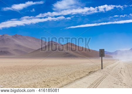 Off-road Track In The Atacama Desert, Bolivia With Majestic Colored Mountains And Blue Sky In Eduard