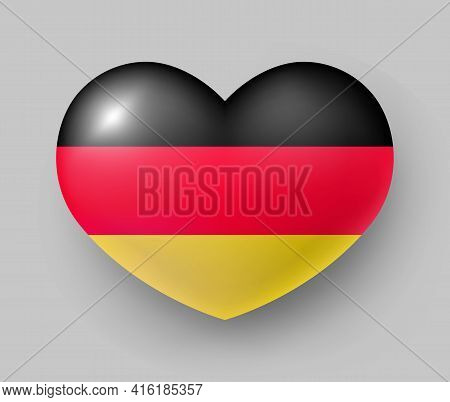 Heart Shaped Glossy National Flag Of Germany. European Country National Flag Button, German Symbol I