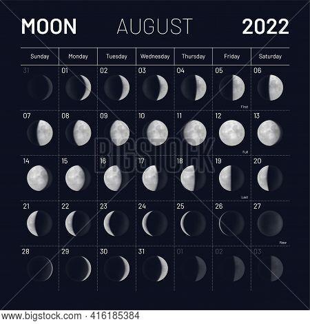 August Lunar Calendar 2022 Dark Night Sky Backdrop. Month Cycle Planner, Astrology Schedule Template