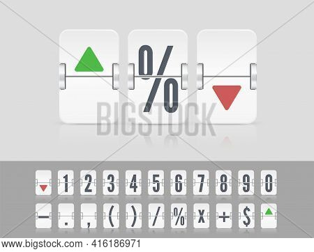 Vector Stock Exchange Template. White Analog Countdown Number Font. Flip Number Or Symbol Scoreboard