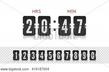 Vector Illustration Template. Scoreboard Number Font. Vector Coming Soon Web Page Design Template Wi