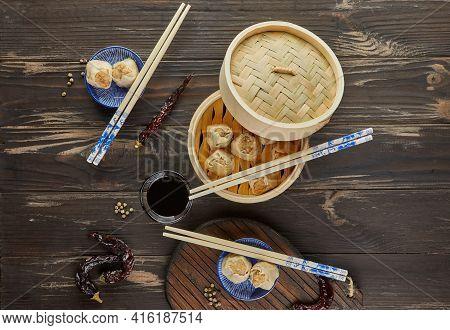 Shumai Shaomai Chinese Meat Dumpling Steamed Dish In Bamboo Steamer Box. Name Dim Sum