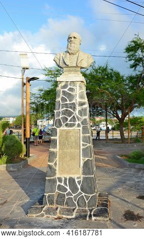 SAN CRISTOBAL ISLAND, GALAPAGOS - FEBRUARY 17, 2017: Charles Darwin Commemorative Statue 1835. The monument is in Puerto Baquerizo Moreno the Capitol of the Galapagos Archipelago.