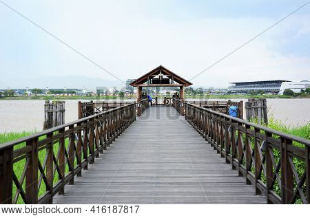 GUAYAQUIL, ECUADOR - FEBRUARY 15, 2017: Guayaquil Historical Park Pier. The Central Bank of Ecuador built the park with educational, cultural, environmental, recreational and tourist purposes.