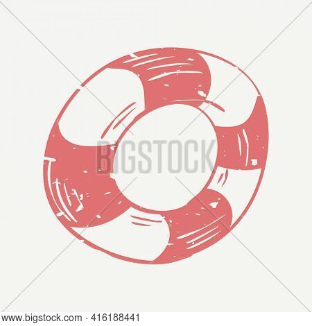 Muted red ring float linocut in cute illustration