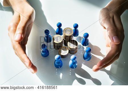 Crowdfund And Business Philanthropy. Protect Finance Surrounded By Figures