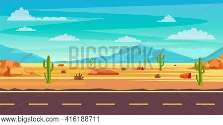 Desert Landscape. Cactus Plants, Road And Rocks On The Sands. Natural Background. Landscape Arizona