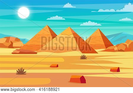 Egyptian Desert With Pyramids. Giza Plateau Landscape With Egyptian Pharaohs Pyramids. Ancient Histo