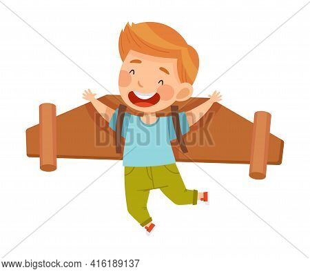 Cheerful Boy With Improvised Fake Wings Flying And Playing Vector Illustration