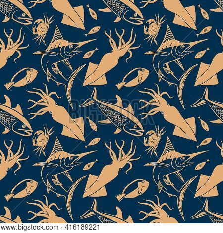 Seamless Pattern With Marlin Fish, Salmon Fish, Squid And King Crab