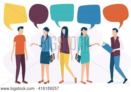 The Concept Of Social Communication. People Talk, Discuss, And Conduct A Dialogue. Social Networks,