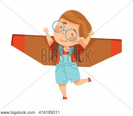 Playful Boy In Glasses With Improvised Fake Wings Flying And Playing Vector Illustration