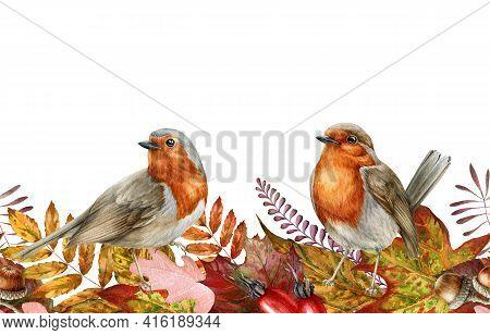 Autumn Leaf And Robin Birds Seamless Border. Watercolor Illustration. Red, Orange Fallen Leaves Endl