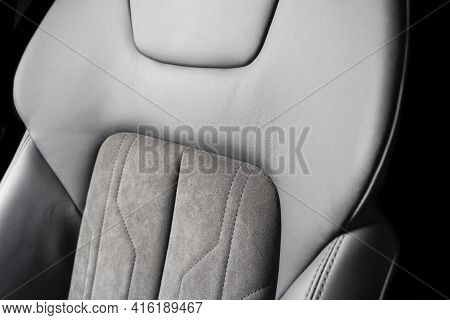 Modern Luxury Car Black Leather With Alcantara Interior. Part Of Black Leather Car Seat Details With