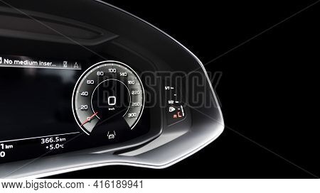 Close Up Shot Of A Digital Speedometer In Car. Fully Digital Car Dashboard. Dashboard Details With I