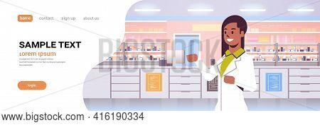 African American Female Doctor Pharmacist Modern Pharmacy Drugstore Interior Medicine Healthcare Con