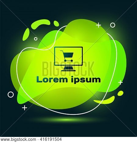Black Shopping Cart On Screen Computer Icon Isolated On Black Background. Concept E-commerce, E-busi