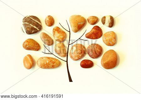 Beautiful Rounded Pebbles Laid Out In The Shape Of A Tree, Smooth Pebbles In The Shape Of A Square O