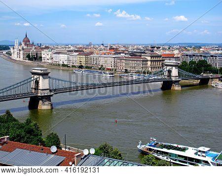 Budapest, Hungary - 13 Jun 2011: Chain Bridge In The Center Of Budapest, Hungary