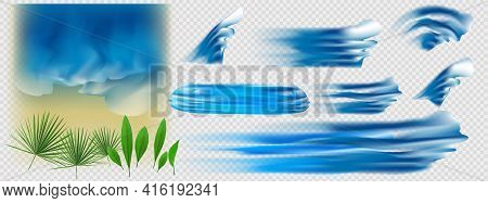 Set Of Blue Sea Waves Isolated On White Background, Also A Logo Idea.op View Of Sea Waves Isolated O