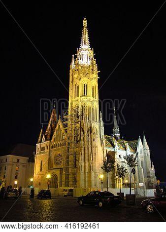 Budapest, Hungary - 13 Jun 2011: The Church In Budapest At Night, Hungary