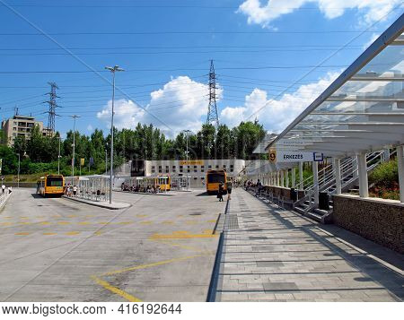 Budapest, Hungary - 13 Jun 2011: The Bus Station In Hungary Country