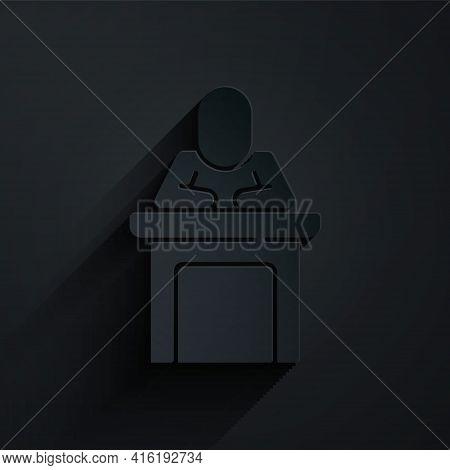 Paper Cut Speaker Icon Isolated On Black Background. Orator Speaking From Tribune. Public Speech. Pe
