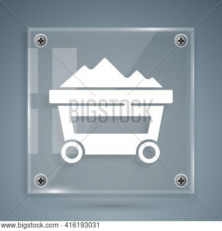 White Coal Mine Trolley Icon Isolated On Grey Background. Factory Coal Mine Trolley. Square Glass Pa