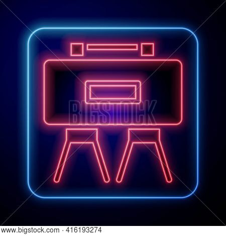 Glowing Neon Military Mine Icon Isolated On Blue Background. Claymore Mine Explosive Device. Anti Pe