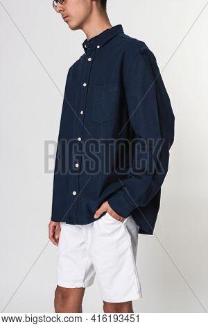 Basic dark blue shirt for boy teenager apparel studio shoot