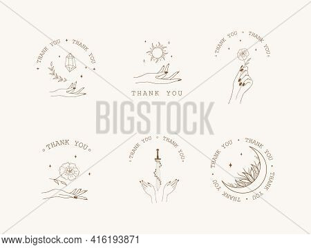 Set Of Boho Thank You Badges, Labels And Stickers. Thank You For Your Order Icons. Modern Vector Ill