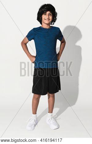 Blue basic t-shirt for boy teen apparel studio shoot
