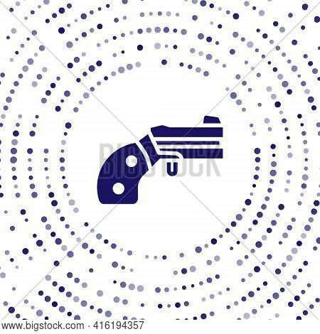 Blue Small Gun Revolver Icon Isolated On White Background. Pocket Pistol For Self-defense. Ladies Re