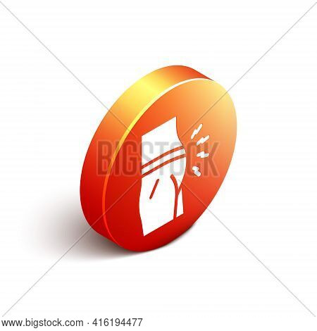 Isometric Abdominal Bloating Icon Isolated On White Background. Constipation Or Diarrhea. Orange Cir
