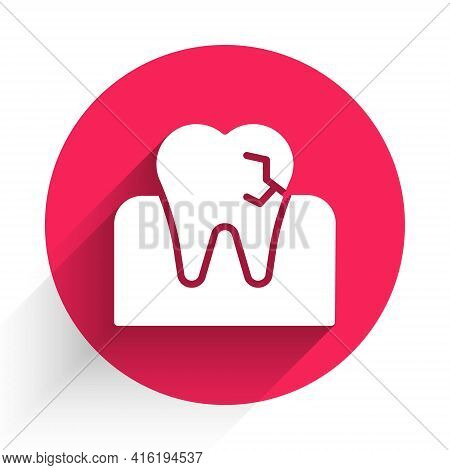 White Tooth With Caries Icon Isolated With Long Shadow. Tooth Decay. Red Circle Button. Vector