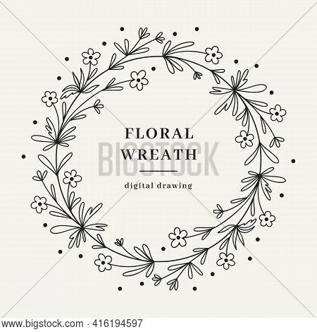 Wildflower Floral Wreath, Hand-drawn Wildflower Branch, Circle Monogram. Vector Illustration