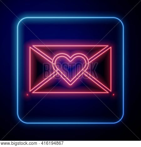 Glowing Neon Envelope With Valentine Heart Icon Isolated On Blue Background. Message Love. Letter Lo