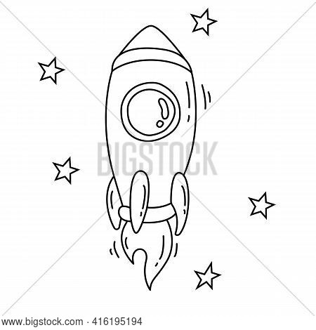Spaceship In The Stars Or Rocket Ship With Fire Black Line Icon. New Project Starting, Start Up Laun