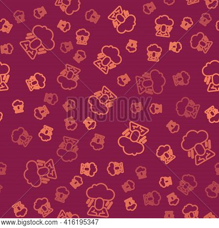 Brown Line Depression And Frustration Icon Isolated Seamless Pattern On Red Background. Man In Depre