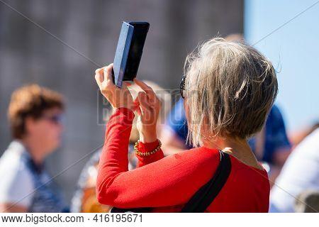 Portugal, Porto, October 06, 2018: Woman Tourist Taking Photo On Landmarks Of Porto With Mobile Smar