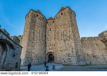Carcassone, France - December 28, 2019: View To The Secound Entrance With The Tower From The Histori