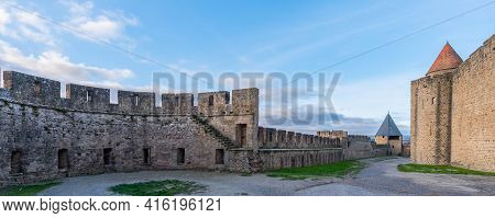 Panorama View Over The Walls From The Historical Castle Carcassone - Cite De Carcassone At The Morni